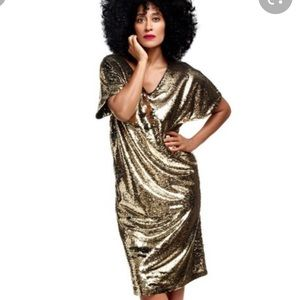 Tracee Ellis Ross gold sequin kimono sleeve dress